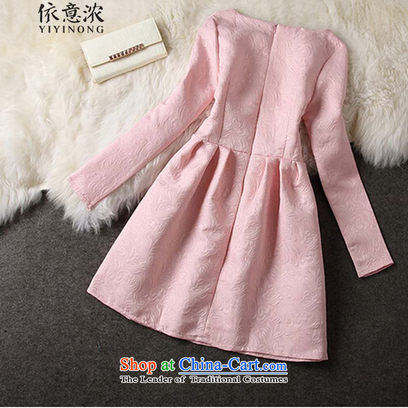 In accordance with the intention is thicker?9185# elegant small dress aristocratic Heung-video thin Foutune of forming the Sau San long-sleeved dresses pink?S