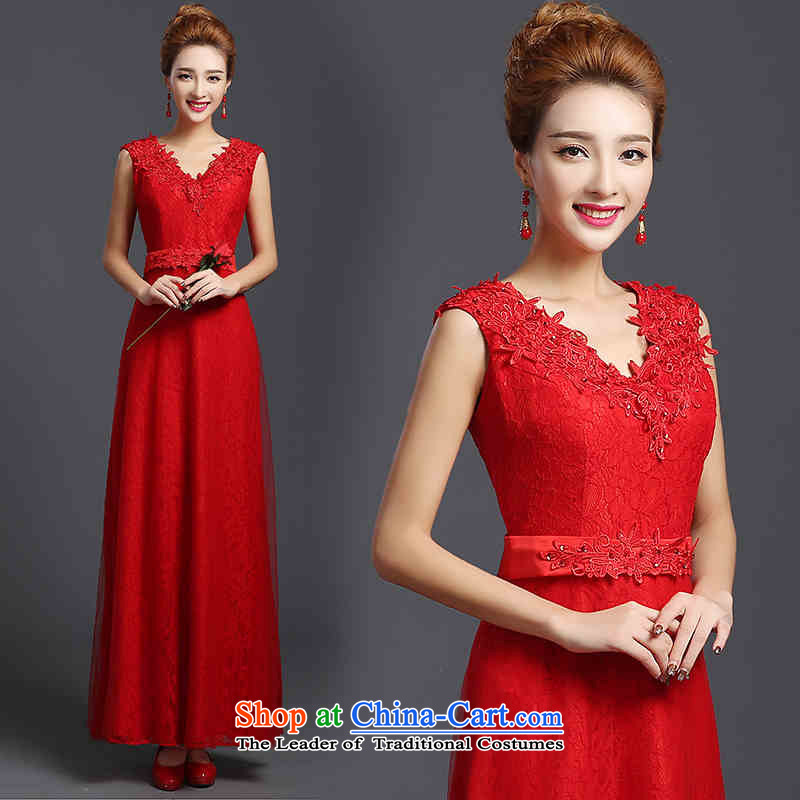 ?   ?Toasting champagne HUNNZ services bridesmaid services 2015 Korean Sau San lace V-Neck long bride wedding dress evening dress RED?M