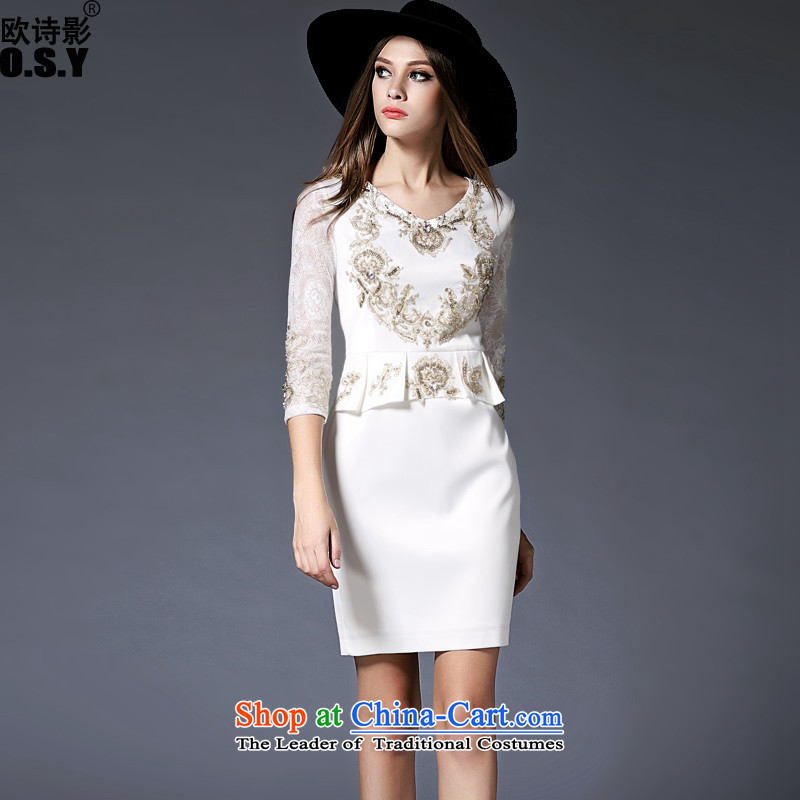 The OSCE Poetry Film 2015 new women's stylish 7 Sleeve V-dress skirt the door onto bridesmaid to marry heavy industry for the Pearl River Delta embroidered bride bows to the skirt white?L