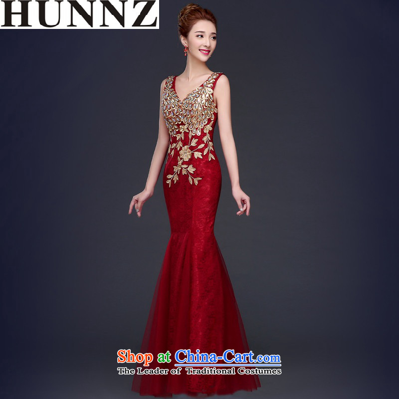 By 2015, the bride HUNNZ crowsfoot wedding dress moderator clothing elegant banquet dinner dress V-Neck wine red?S
