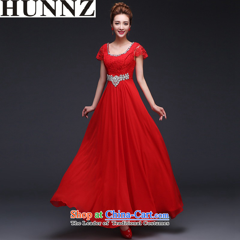 Hunnz 2015 stylish and simple Sau San long lace Bridal Fashion long gown banquet evening dresses red?S