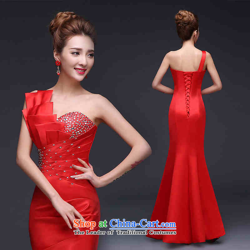 2015 Fashion and chest HUNNZ straps crowsfoot_ Marriages wedding banquet set moderator dress red?S