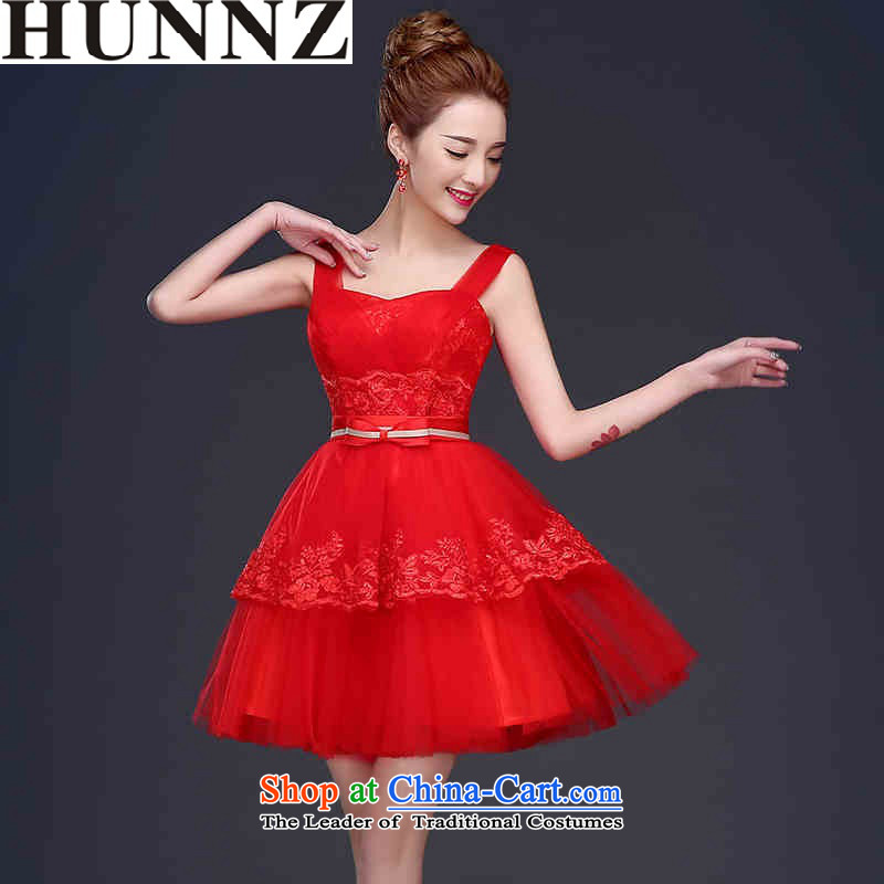 2015 Short of HUNNZ straps stylish bride wedding dress straps solid color banquet moderator dress red?XXL