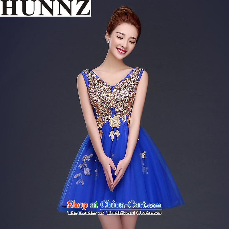 The lifting strap, 2015 HUNNZ bride wedding dress banquet evening dress Wedding Dress Short of booking strap royal blue�XL