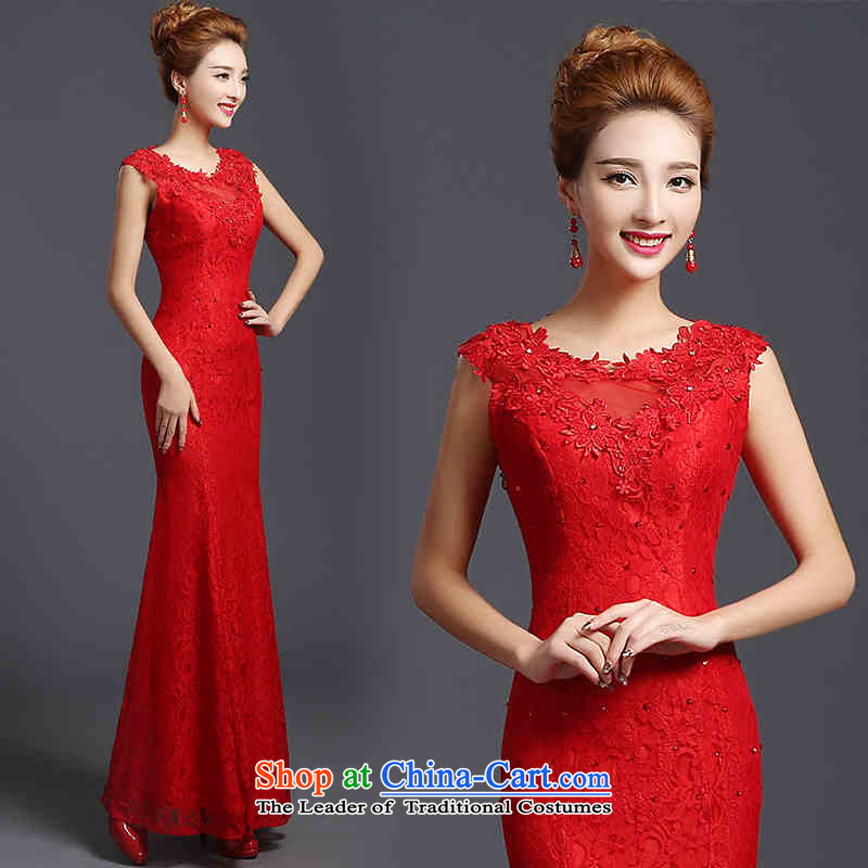 The spring and summer of 2015 New HANNIZI) Bride wedding dress the wedding-dress ethnic long bows services red�XL