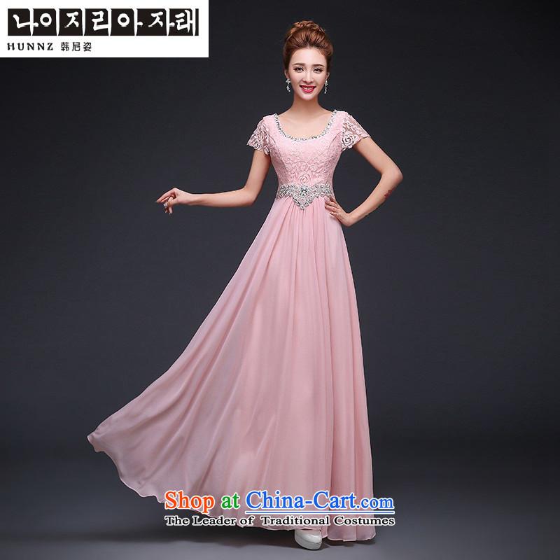 Hannizi 2015 wedding dress bows Service Bridal Fashion tie long banquet evening dresses bridesmaid services Pink�S