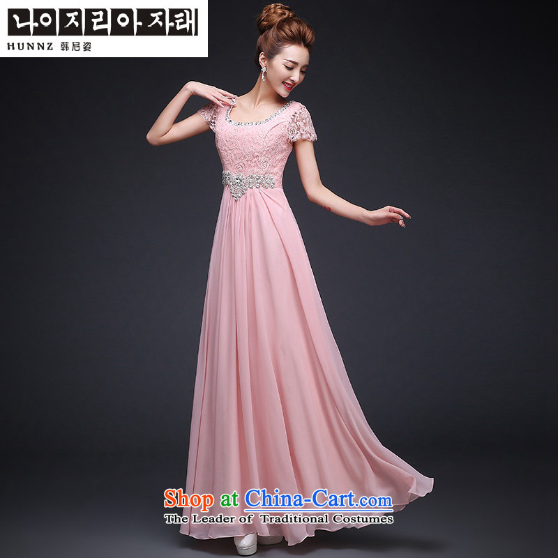 Hannizi 2015 stylish and simple large Sau San bride wedding dress bows to lace long pink?L