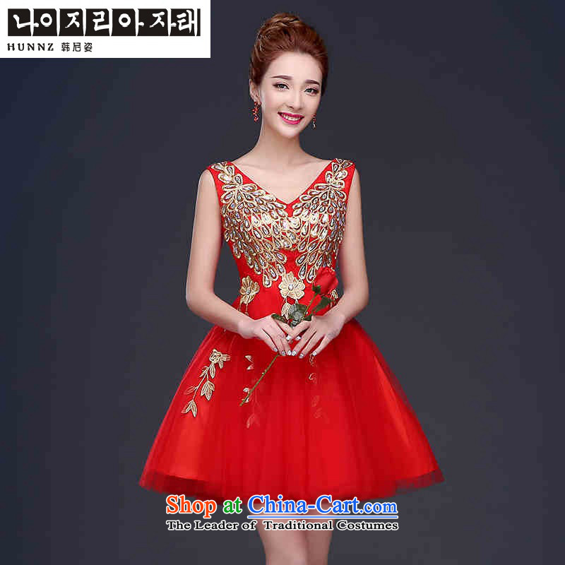 Hannizi 2015 stylish and simple large bride dresses Sau San sister dress straps, bows to red?XXL