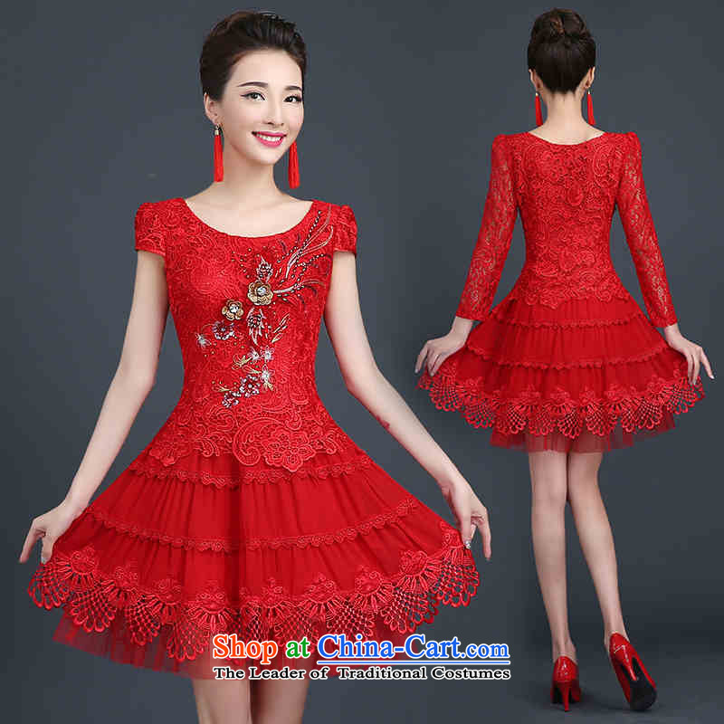 Hannizi 2015 stylish and simple Sau San larger lace bride Wedding Dress Short, bows to Red?M