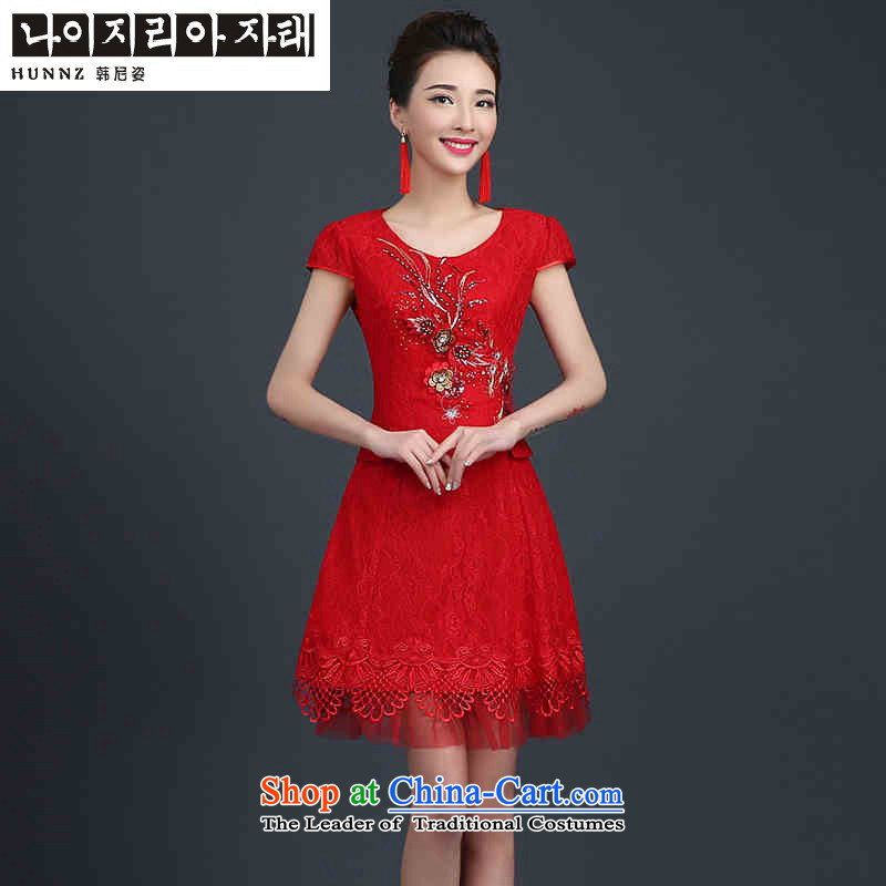 Hannizi 2015 stylish and simple Sau San lace short stylish bride booking wedding dress bows services red?S