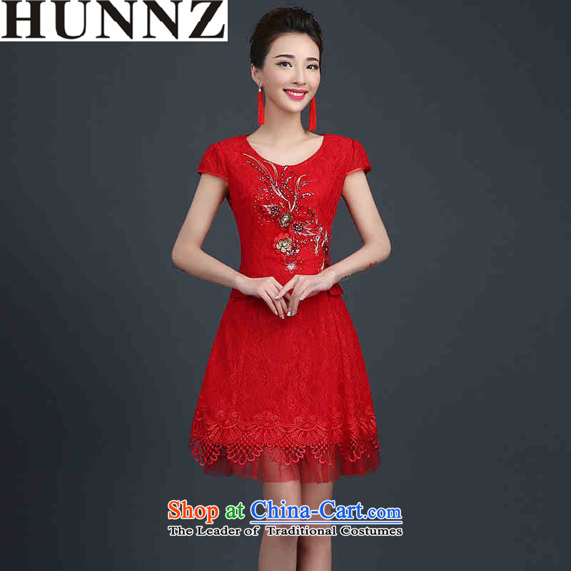 2015 Long dresses HUNNZ lace stylish bride wedding dress bridesmaid services serving large red bows Code Red�L