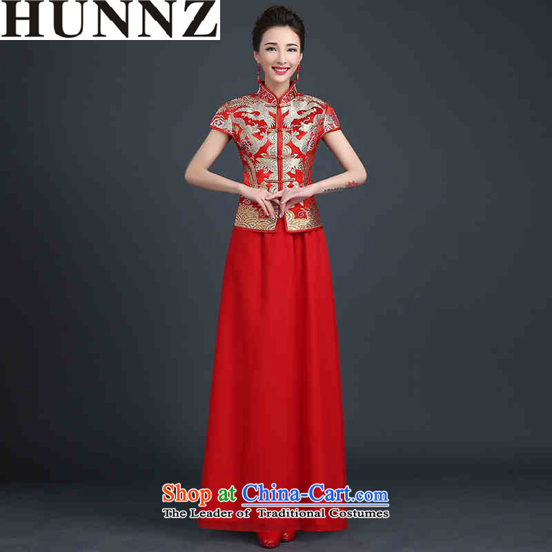 2015 Long dresses HUNNZ ethnic bride wedding dress the wedding banquet red long red M