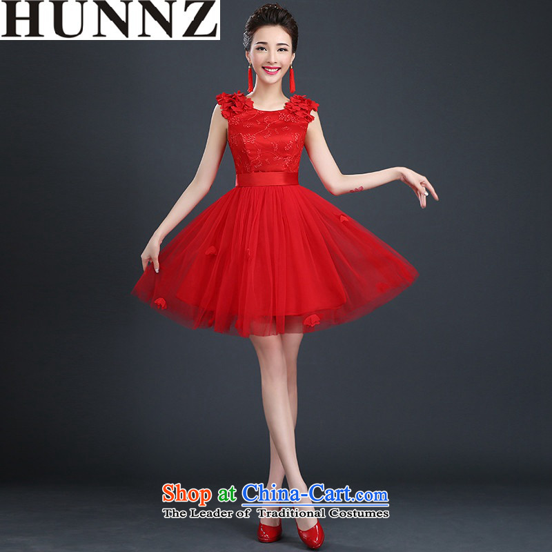 Hunnz long 2015 is simple and stylish Korean brides wedding dresses tie bows service banquet moderator dress red?S