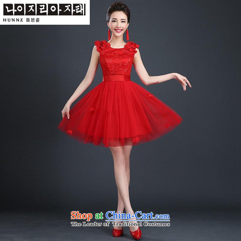 Hannizi 2015 stylish and simple large Sau San Korean bridal dresses tie bows service banquet evening dresses red�XXL