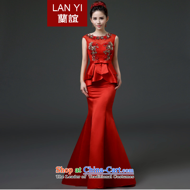 The Friends of the bride bows services long shoulders get married Korean version of Red Dress field shoulder graphics thin crowsfoot satin dress auspices to align the banquet gown red?XL 2.2 feet waistline code