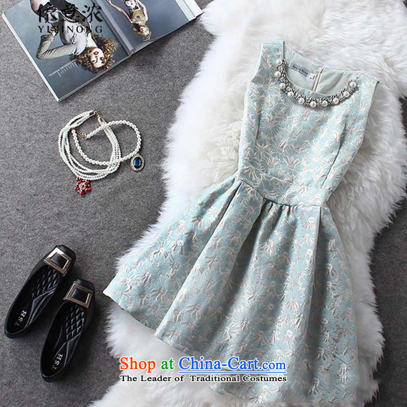In accordance with the intention? of summer 6853_2015 thick aristocratic small Heung-Large Princess bon bon dress small dress light blue?M