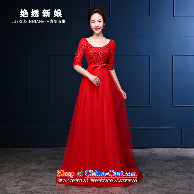Embroidered bride 2015 autumn is by no means new 2 large shoulder Top Loin red long drink service bridal pregnant women dress red�XXXL Banquet