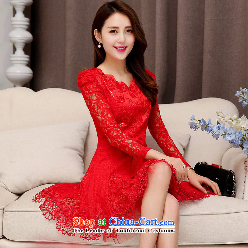 Kim Man Windsor xl bridal dresses bows services back to the door spring and autumn 2015 service pack in long-sleeved red lace long skirt red?V-Neck XL