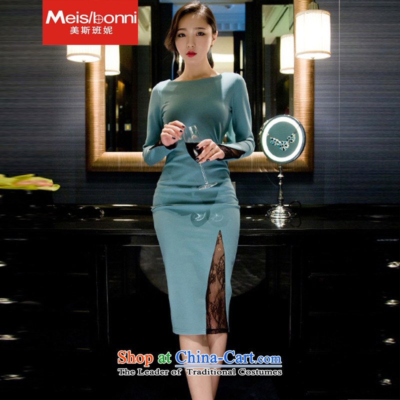 The United States at the?2015 autumn and winter Connie new Korean nightclubs and sexy elegant fluoroscopy temperament lace package and dresses dress in long skirt CPU 5CLT light blue?L