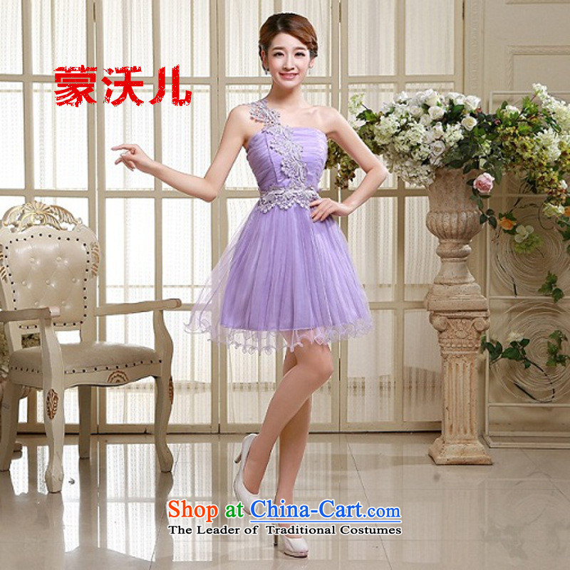 Child-care?2015 Single Monrovia Kosovo shoulder evening dresses bridesmaid dress new autumn and winter bridesmaid Sau San service of the small dining dress code are Violet