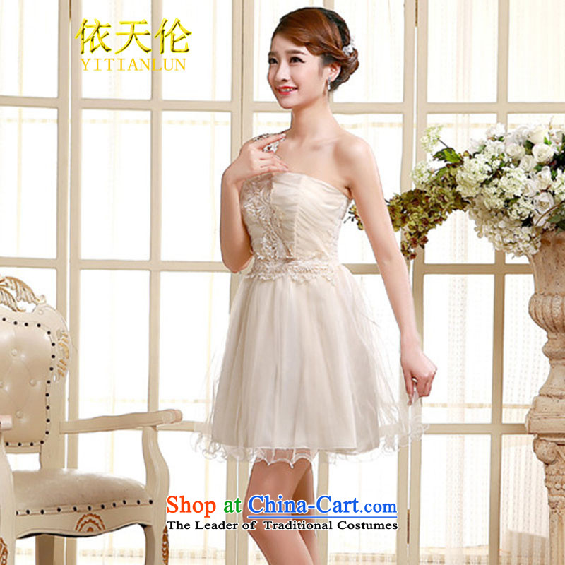 In accordance with the single shoulder dress Tianlun Songhe bridesmaid service of the small dining dress TW002 champagne color codes are (85-115 catties)