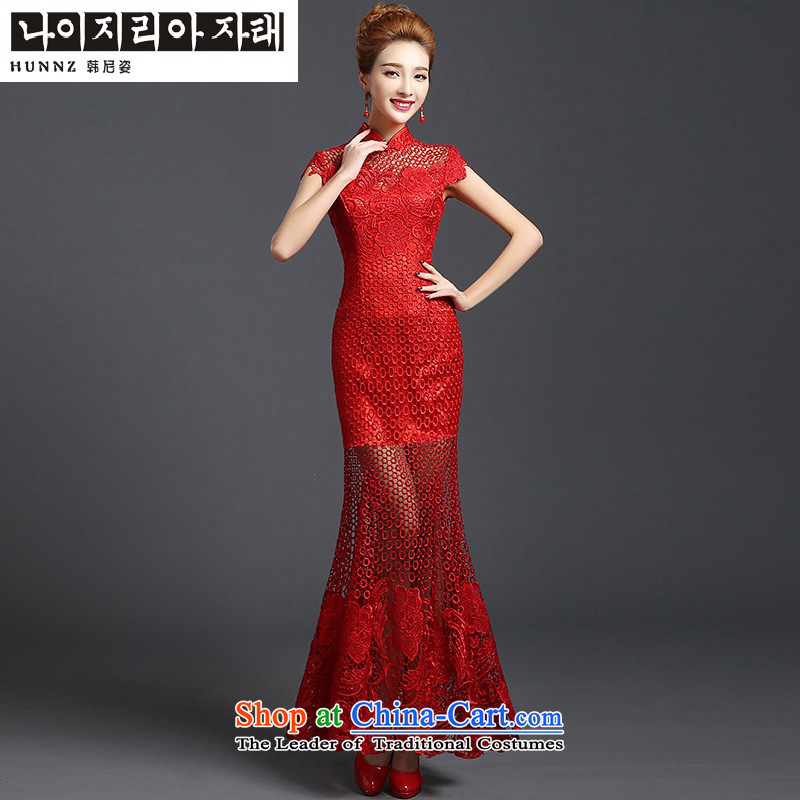 Hannizi 2015 stylish and simple elegant large Sau San bride wedding dress bows services evening dress red?XXL