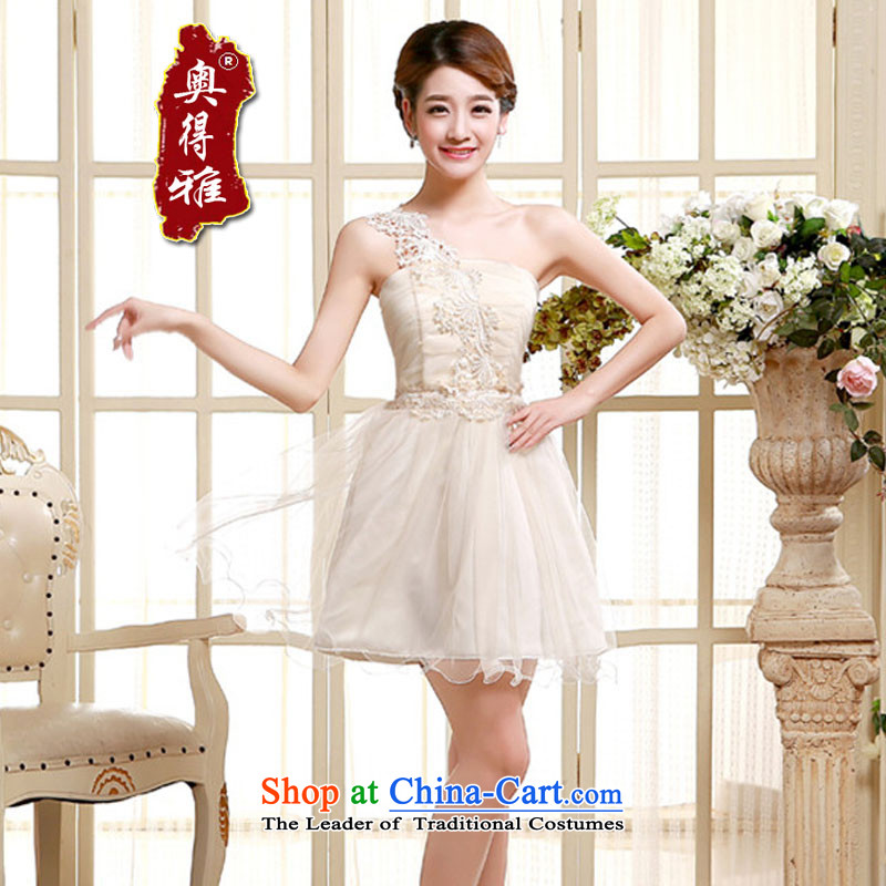 (LOUIS.AODEYA ODER) Single shoulder evening dresses bridesmaid Sau San service, sister small dress small dining dress code (85-115) champagne color are