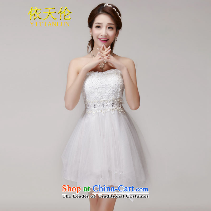 In accordance with the manual nail Pearl Tianlun International Diamond temperament and Sau San chest dresses bridesmaid TW1013 groups will white dress (85-115 catties)