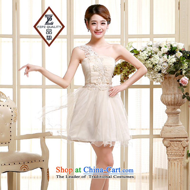 No. of pzpzquality (Shoulder) evening dresses bridesmaid small Dress Short, sister small dress bride bows to small Sau San dress code are champagne color