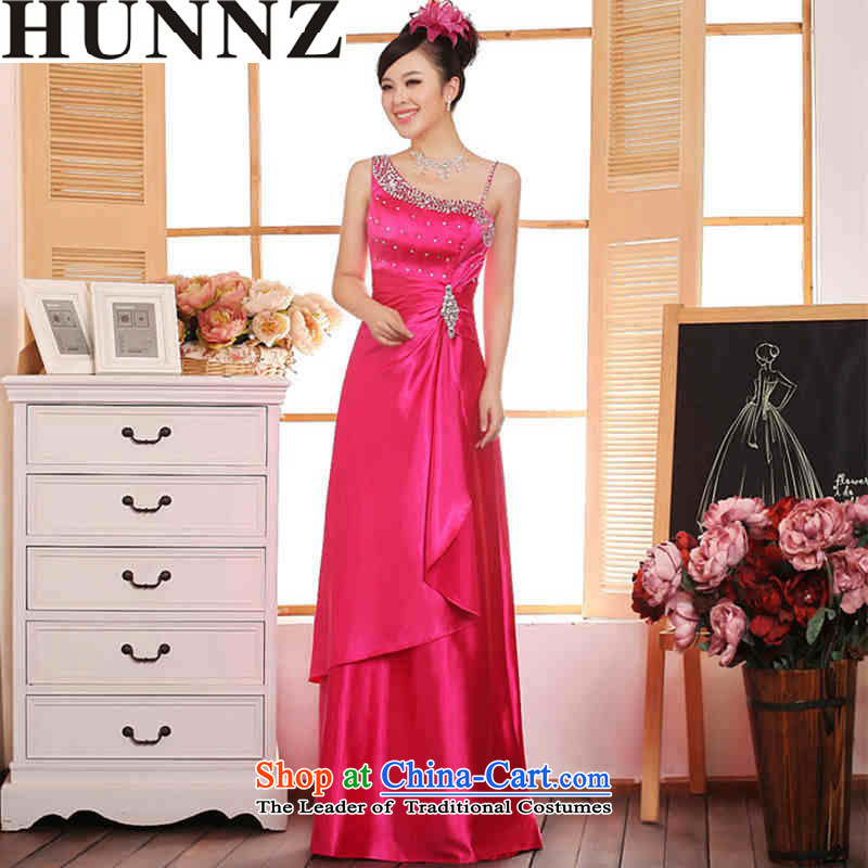 2015 Long dresses HUNNZ stylish shoulder solid color new spring and summer bride wedding dress in red?XL serving drink