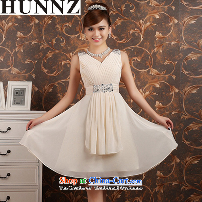 聽   聽Toasting champagne HUNNZ Services 2015 new spring and summer word shoulder wedding dress dress bridal bridesmaid serving champagne color聽XL