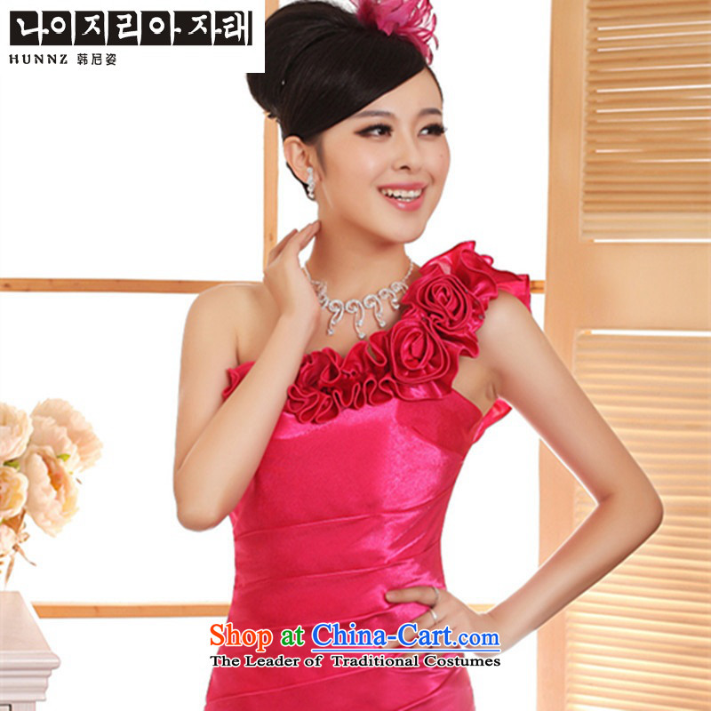 Hannizi 2015 stylish and simple large Sau San shoulder the new bride spring and summer wedding dress bows of red?L services