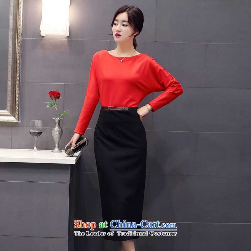 The 2015 autumn and winter Ms. new Korean Top Loin step pure colors skirt Sau San round-neck collar long skirt waistband with Europe and the trendy commuter 2 RED�M