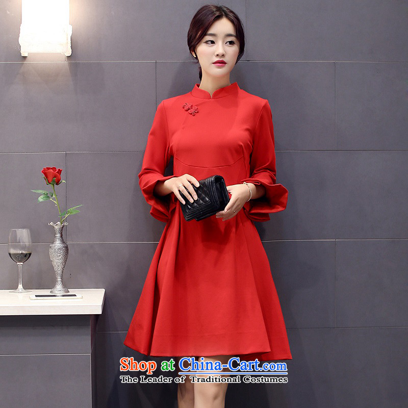 The 2015 autumn and winter Ms. New Pure Color China wind dresses minimalist retro style, a Korean word waist skirt Sau San hundreds pleated skirts petals cuff 2 red?L