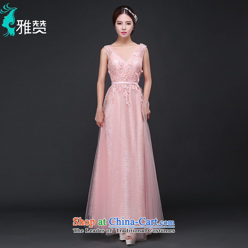 The annual meeting of the Zambia evening dresses long bride services pink flowers of the bows moderator dress shoulders V-Neck Sau San thin nail-ju on graphics chip pink�M
