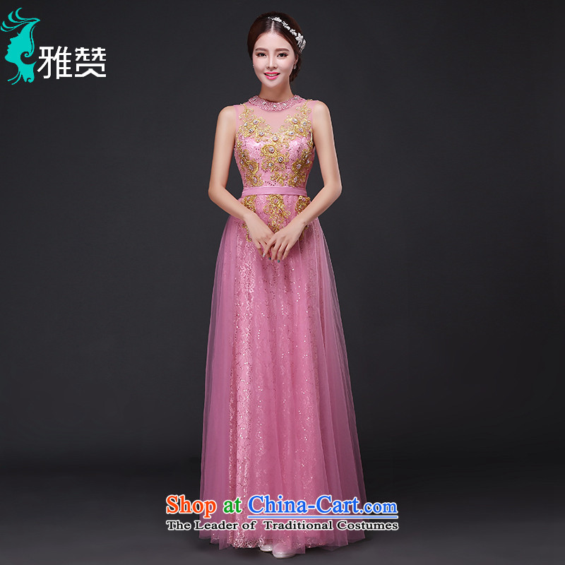 Jacob Chan moderator evening dresses long 2015 new autumn and winter video thin shoulders and sexy pink drink service bridesmaid services rose?L