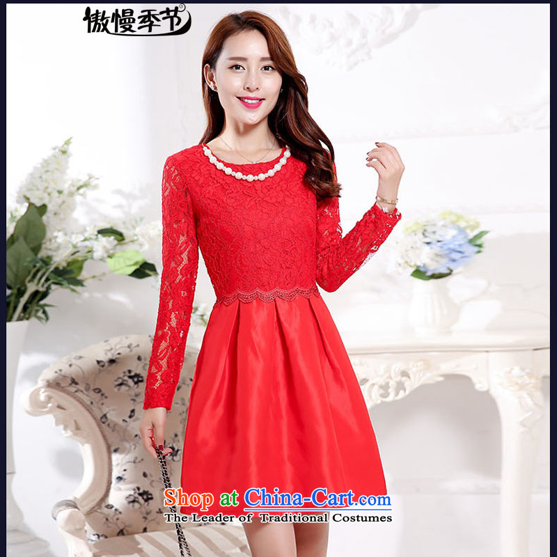 Load New autumn 2015 aristocratic new bride dress a marriage dresses red dress bows serving two kits female RED?M