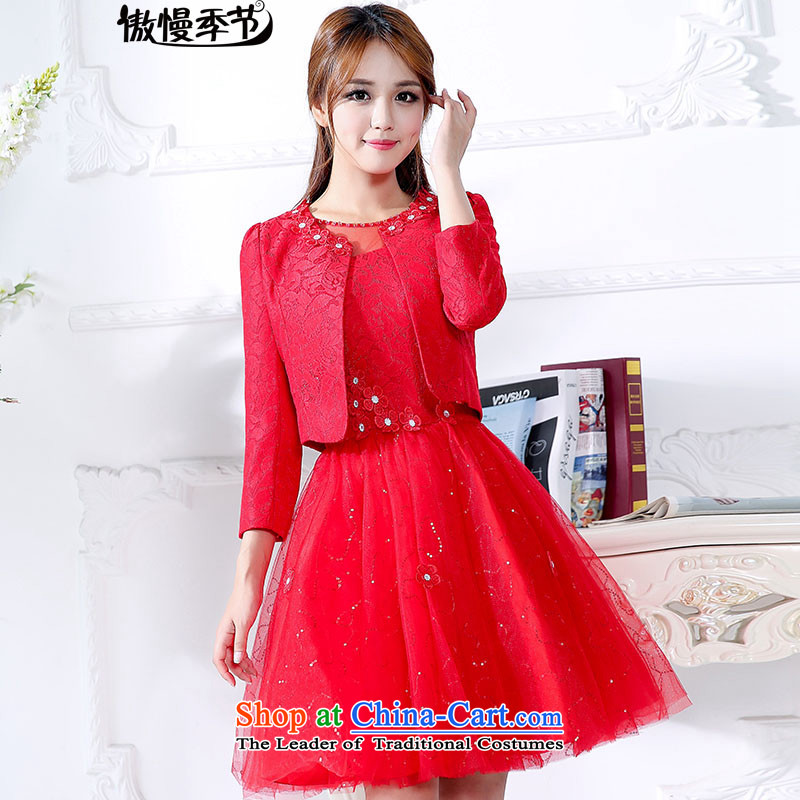 In spring and autumn 2015 new large red bride replacing dresses marriage the lift mast bows dress lace red dress two kits RED?M