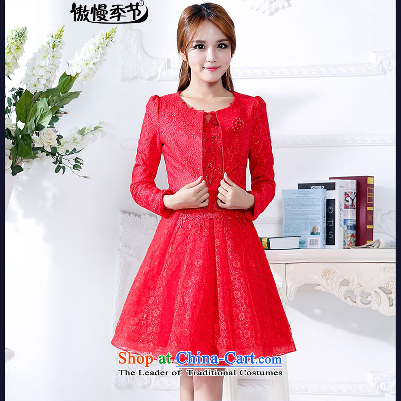 The new 2015 Autumn boxed long-sleeved two kits dresses female elegance gentlewoman skirts into wine red?XXXL bridal dresses