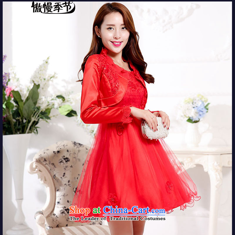 Load New autumn 2015 aristocratic new bride dress a marriage red dress bows serving two kits dresses female RED?M
