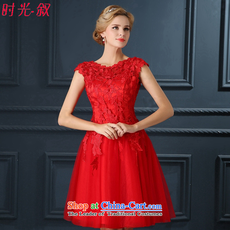Time Syrian brides fall_winter 2015 new package shoulder lace bows to fall short of the Red Wedding Dress Annual Dinner of the marriage wedding dresses performances small red XL