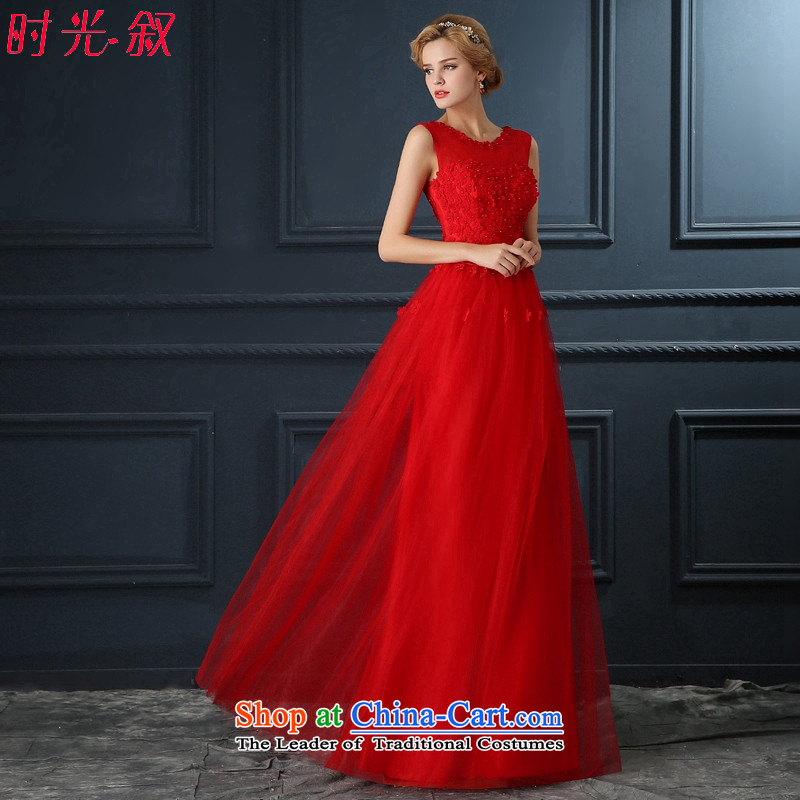 The Syrian brides dresses time 2015 new red petals long shoulders fluoroscopy female evening dress marriage services annual winter banquet bows dress red?S