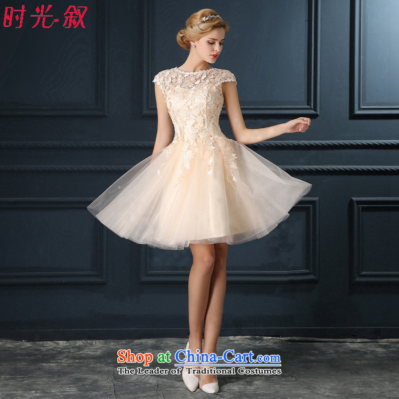 Time Syrian champagne color lace short dinners banquet annual meeting of persons chairing the wedding night wear small dress new 2015 bridesmaid services serving champagne color marriage bows XL