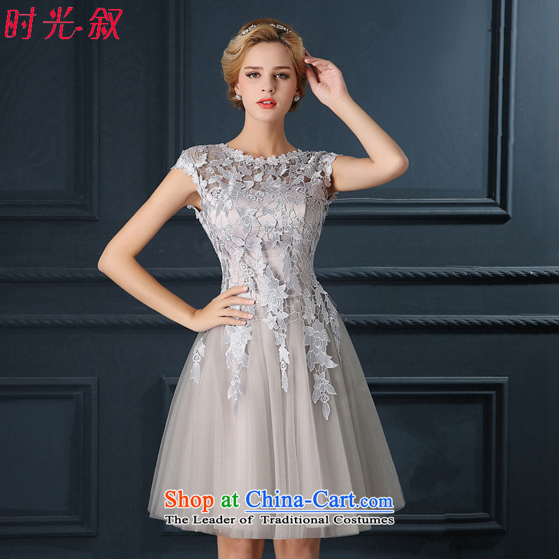 Time Syrian sexy back Gray lace flowers bride services under the auspices of the annual dinner of the bows performances wedding dresses 2015 new bridesmaid Service?M