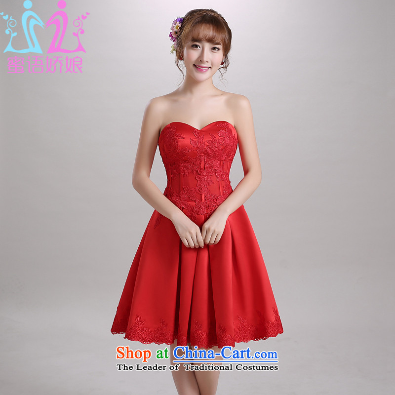 Talk to Her Wedding Dress Short) 2015 autumn and winter new bride bows services and chest Korean dress code red�L