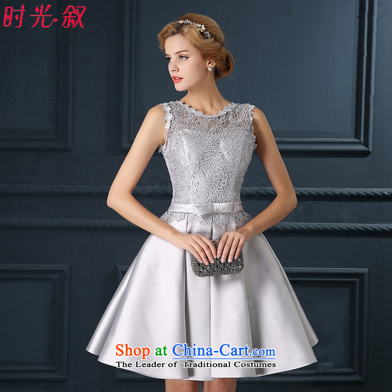 Time Syrian Smoke Gray marriages wedding short of serving bows wedding dresses qipao small 2015 new marriages bows Annual Dinner Performances Bridesmaid Smoke Gray�S