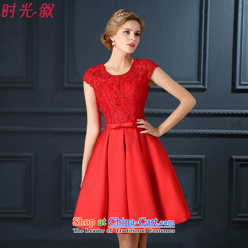 Time Syrian back red lace short-sleeved bride with a drink service of marriage wedding dinner evening dress qipao annual small new 2015?XL
