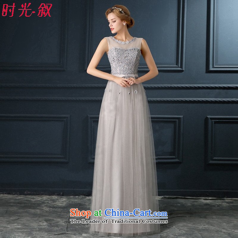 Time Syrian sexy back Gray lace flowers bride services under the auspices of the annual dinner of the bows performances wedding dresses 2015 evening dresses Smoke Gray?S