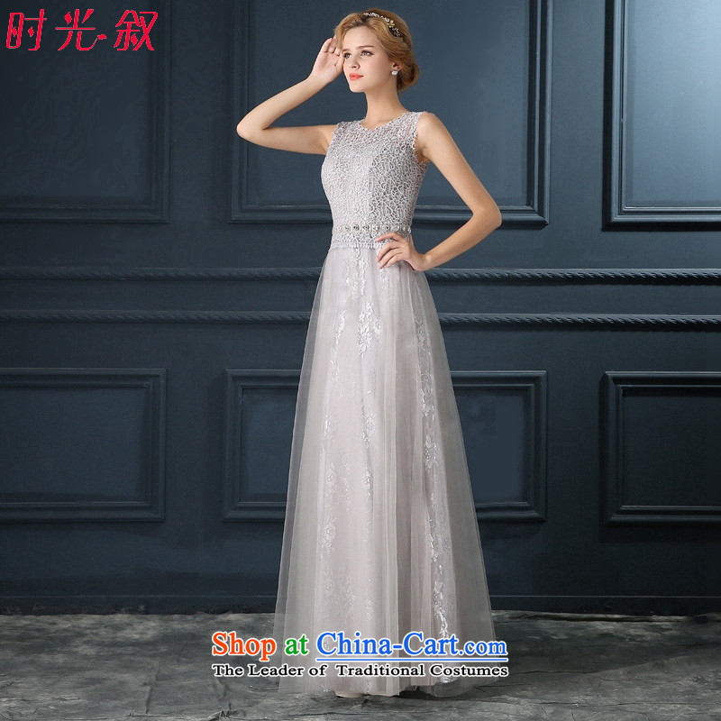 Time Syrian gray lace marriages bows service long wedding banquet annual meeting wedding dresses 2015 New Light Gray?L