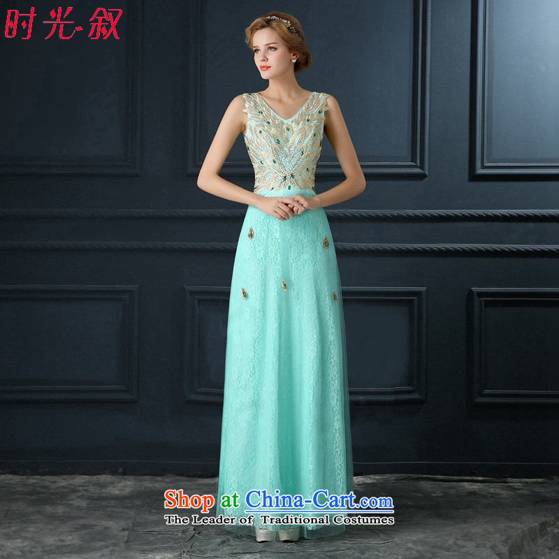 Time Syria Blue Diamond lace marriages serving dinner drink bridesmaid annual performance long wedding dress skyblue?S